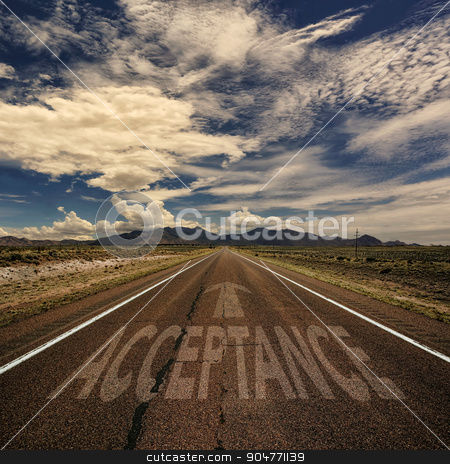 Conceptual Image of Road With the Word Acceptance stock photo, Conceptual image of desert road with the word acceptance and arrow by Scott Griessel