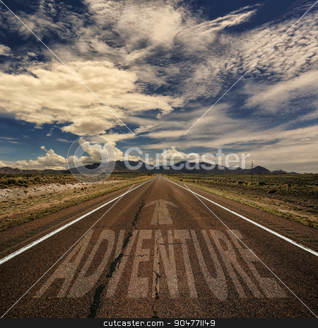 Road With the Word Adventure stock photo, Desert road with the word adventure and arrow by Scott Griessel