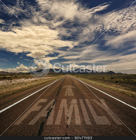 Conceptual Image of Road With the Word Family stock photo, Conceptual image of desert road with the word family and arrow by Scott Griessel