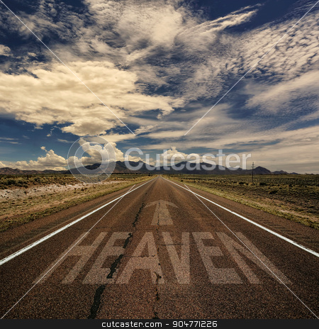 Conceptual Image of Road With the Word Heaven stock photo, Conceptual image of desert road with the word heaven and arrow by Scott Griessel