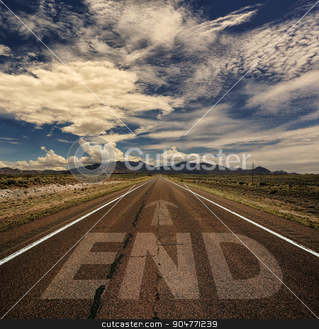Conceptual Image of Road With the Word End stock photo, Conceptual image of desert road with the word end and arrow by Scott Griessel