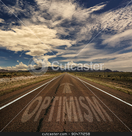 Conceptual Image of Road With the Word Optimism stock photo, Conceptual image of desert road with the word optimism and arrow by Scott Griessel