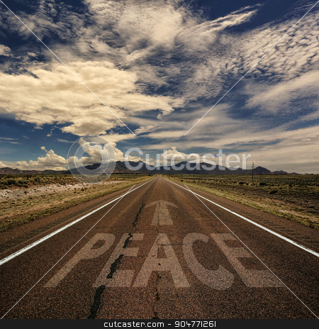 Peace as Word on Asphalt stock photo, Concept of peace as a word on desert highway by Scott Griessel