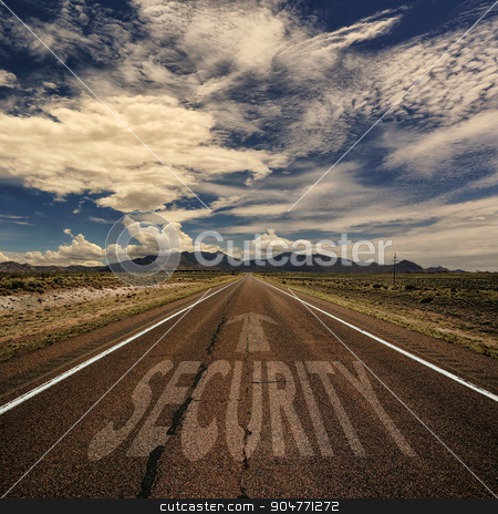 Conceptual Image of Road With the Word Security stock photo, Conceptual image of desert road with the word security and arrow by Scott Griessel