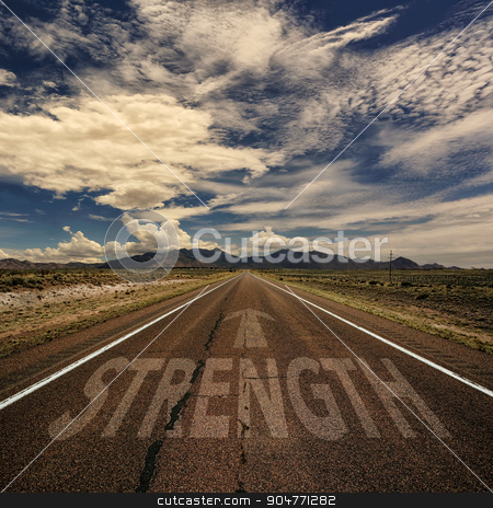Conceptual Image of Road With the Word Strength stock photo, Conceptual image of desert road with the word strength and arrow by Scott Griessel
