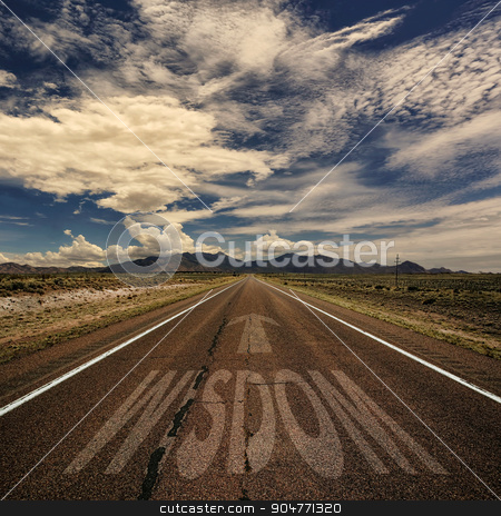 Road With the Word Wisdom stock photo, Conceptual image of desert road with the word wisdom and arrow by Scott Griessel