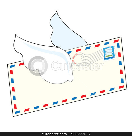 Letter with Wings stock vector clipart, An airmail letter with wings is flying through the air by Maria Bell
