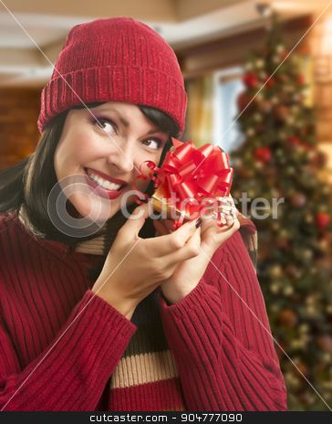 Woman Holding Wrapped Gift in Christmas Setting stock photo, Happy Woman Holding Wrapped Gift in Christmas Setting. by Andy Dean