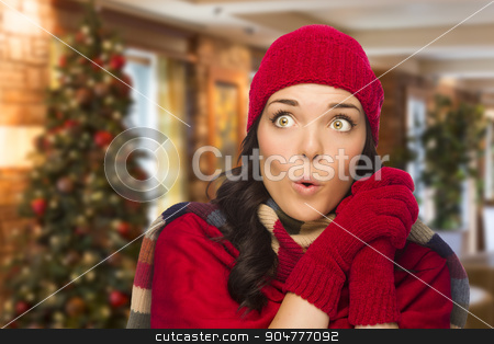 Mixed Race Woman Wearing Mittens and Hat In Christmas Setting stock photo, Happy Mixed Race Woman Wearing Mittens and Hat In Christmas Setting. by Andy Dean