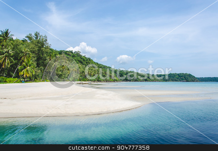sea beaches stock photo, Tropical beach with sea wave on the sand and palm trees.Island Kood by aoo3771