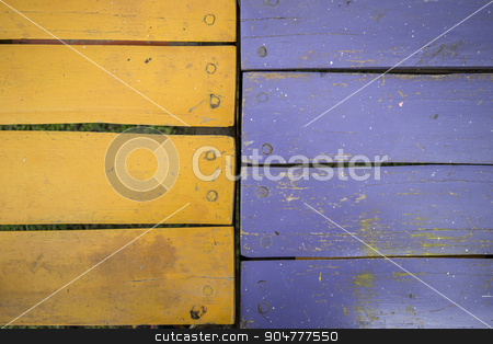 colorful wooden background stock photo, vintage background of blue and orange tables by Juan Martín Otero