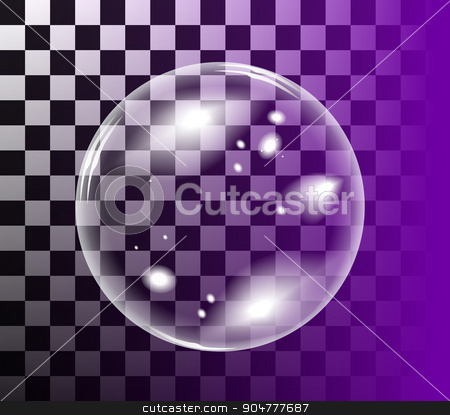 Bubble soap vector stock photo, Transparent soap bubble. Vector realistic illustration on checkered background by sermax55