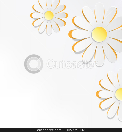 Three cutout chamomiles on grayscale. Floral spring abstract  stock photo, Three cutout chamomiles on grayscale. Floral spring abstract background by Makkuro_GL