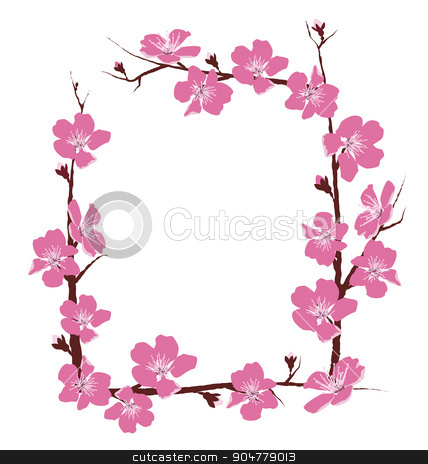 Flowers frame isolated on white stock photo, Flowers frame isolated on white background by Makkuro_GL