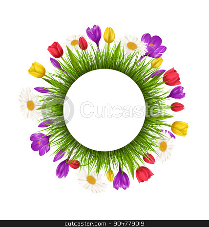 Circle frame with green grass and flowers isolated on white stock photo, Circle frame with green grass and flowers isolated on white background by Makkuro_GL