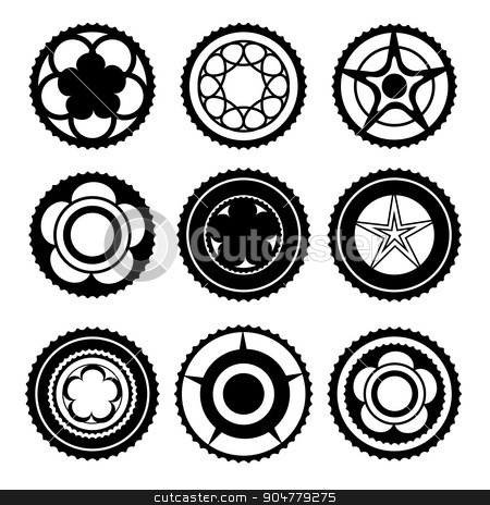 Bike Chainring Set stock vector clipart, Bike Chainrings and Rear Sprocket. Set of Chainwheels Silhouettes by valeo5