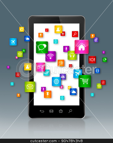 Apps icons flying around Smartphone stock photo, Apps icons flying around Smartphone - grey background by Laurent Davoust