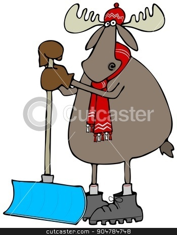 Moose leaning on a snow shovel stock photo, Illustration depicting a bull moose wearing a stocking cap, scarf and boots leaning on a snow shovel. by Dennis Cox