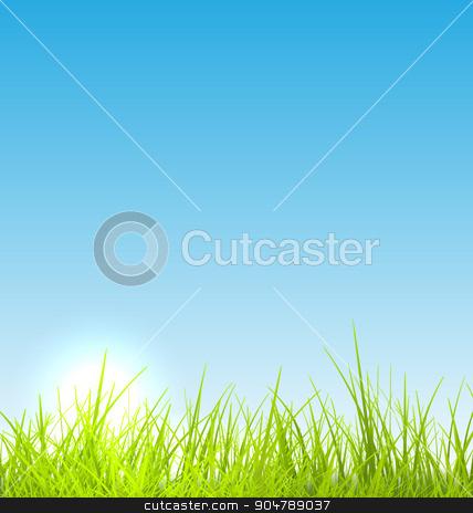 Green fresh grass and blue sky summer background stock vector clipart, Green fresh grass and blue sky summer background - vector illustration by -=Mad Dog=-