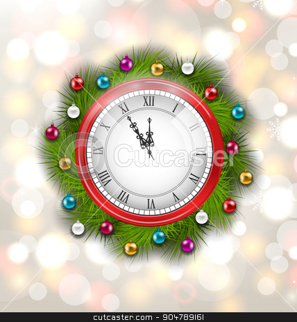 Christmas Wreath with Clock stock vector clipart, Illustration Christmas Wreath with Clock, New Year Decoration on Magic Background - Vector by -=Mad Dog=-