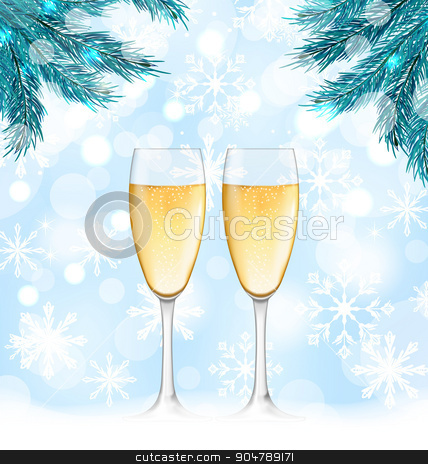 Winter Holiday Background with Glasses of Champagne stock vector clipart, Illustration Winter Holiday Background with Glasses of Champagne and Fir Branches - Vector by -=Mad Dog=-