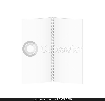white blank spiral paper book stock vector clipart, white blank spiral paper book on white background, isolated by muuraa