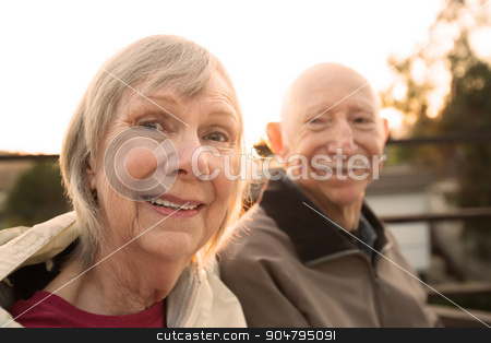 Close Up of Happy Senior Couple stock photo, Close up of European senior couple together outdoors by Scott Griessel