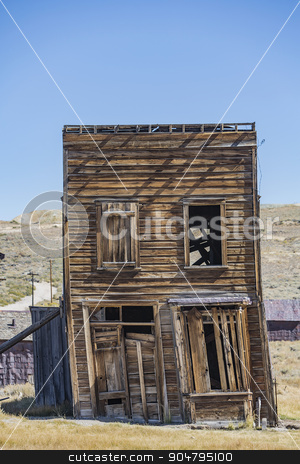 Leaning Building in California Ghost Town stock photo, Leaning two story ghost town building at Bodie in California by Scott Griessel
