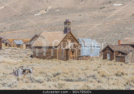 Ghost Town Church stock photo, Historic church in California ghost town of Bodie. by Scott Griessel