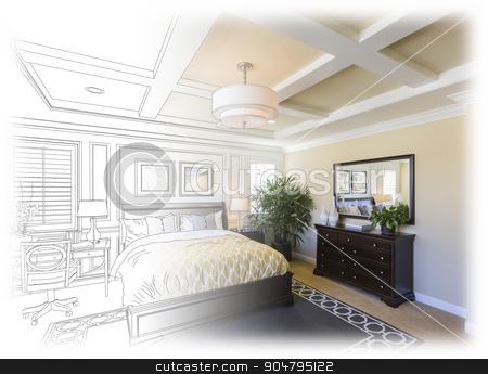 Custom Bedroom Drawing Gradation Into Photograph. stock photo, Beautiful Custom Bedroom Drawing Gradation Into Photograph. by Andy Dean