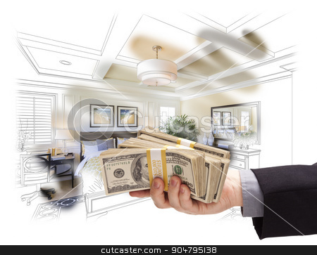 Handing Stack of Money Over Bedroom Drawing Photograph Combinati stock photo, Man Handing Over Stack of Money Above Bedroom Drawing Photograph Combination. by Andy Dean