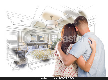 Military Couple Looking Over Custom Bedroom Design Drawing Photo stock photo, Curious Young Military Couple Looking Over Custom Bedroom Design Drawing Photo Combination. by Andy Dean