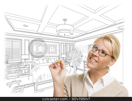 Woman With Pencil Over Custom Bedroom Design Drawing stock photo, Creative Woman With Pencil Over Custom Bedroom Design Drawing on White. by Andy Dean