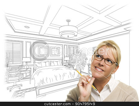 Woman With Pencil Over Bedroom Design Drawing and Photo Combinat stock photo, Daydreaming Woman With Pencil Over Beautiful Custom Bedroom Drawing Thought Bubble. by Andy Dean