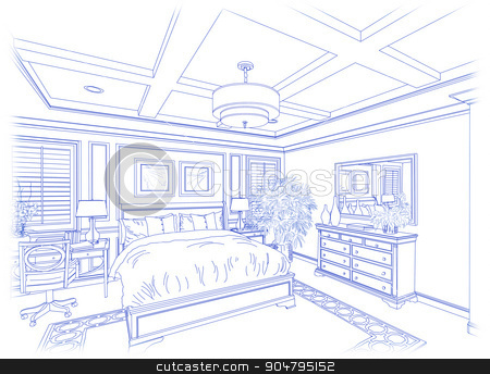 Blue Custom Bedroom Design Drawing on White stock photo, Beautiful Custom Bedroom Design Drawing in Blue Isolated on White. by Andy Dean
