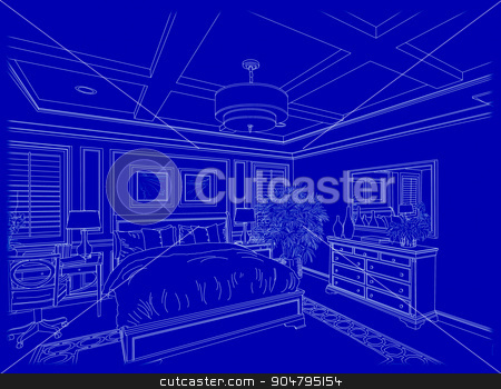 White Custom Bedroom Design Drawing on Blue stock photo, Beautiful Custom Bedroom Design Drawing in White On Blue Background. by Andy Dean