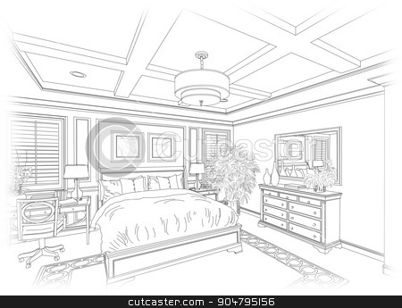 Line Drawing of A Bedroom stock photo, Detailed Line Drawing of A Beautiful Bedroom. by Andy Dean
