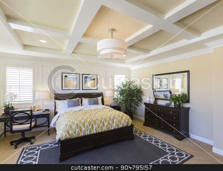 Interior of A Beautiful Master Bedroom stock photo, Dramatic Interior of A Beautiful Master Bedroom. by Andy Dean
