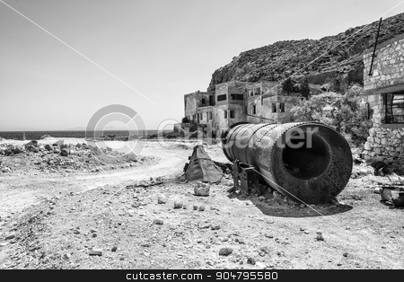 Beach near abandoned sulphur mines, Milos island, Cyclades, Greece stock photo, Beach near abandoned sulphur mines at Milos island, Cyclades, Greece by ANTONIOS KARVELAS