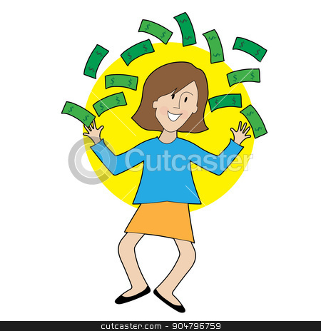 Happy Lady and Money stock vector clipart, A very happy lady is jumping and throwing money in the air by Maria Bell
