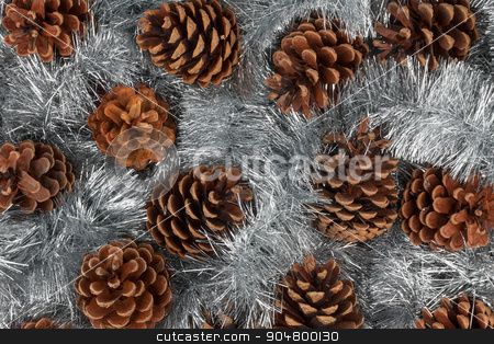 Cones and Christmas decorations stock photo, Cones and Christmas decorations, can be used as background by alekleks
