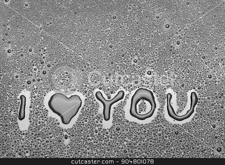 Inscription I love you written on a black background with water stock photo, Inscription I love you written on a black background with water by alekleks