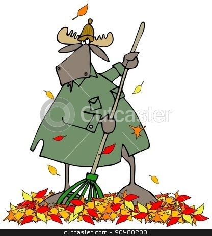 Moose raking autumn leaves stock photo, Illustration depicting a bull moose trying to rake up autumn leaves that keep falling. by Dennis Cox