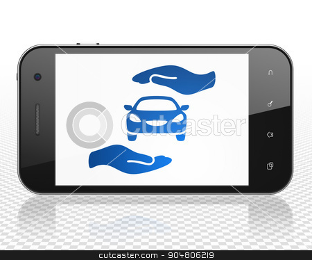Insurance concept: Smartphone with Car And Palm on display stock photo, Insurance concept: Smartphone with blue Car And Palm icon on display by mkabakov