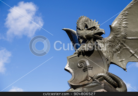 The Basilisk stock photo, Photograph of the basilisk statue at Wettstein bridge in Basel, Switzerland. by Oliver Foerstner