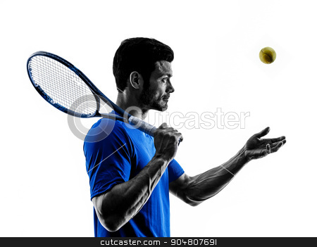 man silhouette playing tennis player stock photo, one caucasian man playing tennis player in studio silhouette isolated on white background by Ishadow