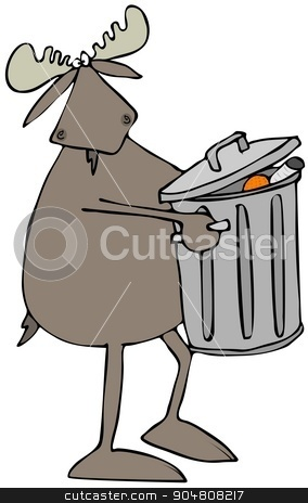 Moose taking out the garbage stock photo, Illustration depicting a bull moose carrying a full metal garbage can. by Dennis Cox
