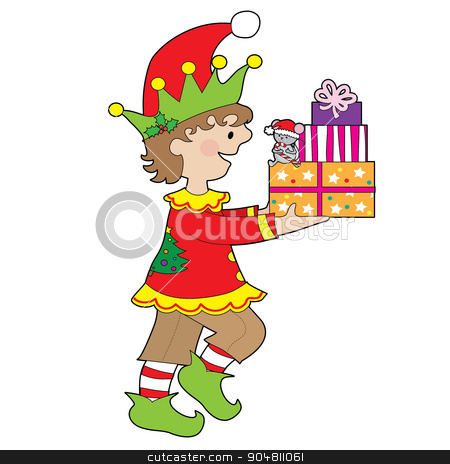 Elf with Present stock vector clipart, A little male elf is carrying a stack of presents that has a little mouse sitting on them by Maria Bell
