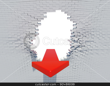 Wall crash arrow stock photo, Wall crash arrow with white hole and bricks by cherezoff
