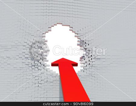 Wall crash red arrow stock photo, Wall crash arrow with white hole and bricks by cherezoff